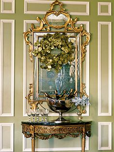rococo mirror and 19th-century console table