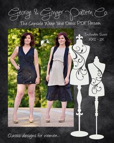 The Capsule Wrap Vest Dress Women's Sizes PDF by GeorgeandGingerCo