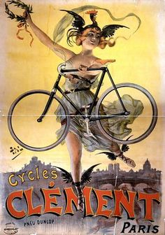 - This piece is a wonderful reproduction of a vintage French bicycle advertising art nouveau poster for ' Cycles Clement' by Pal in Paris, France in Velo Retro, Velo Vintage, Vintage Cycles, Vintage Bikes, Vintage Ads, Vintage Posters, Paris Vintage, Vintage Prints, Old Bicycle