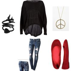 Love the worn skinny jeans with the loose top. Autumn Winter Fashion, Winter Style, Fall Fashion, Red Shoes Outfit, Bohemian Style, Bohemian Fashion, Fashion Beauty, Womens Fashion, Loose Tops