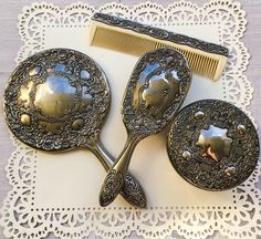 Vintage vanity set antique hand mirror antique hairbrush dressing table set silver plated hand mirror Art Nouveau mirror vintage makeup set by JaggedPearl on Etsy https://www.etsy.com/listing/499467304/vintage-vanity-set-antique-hand-mirror