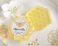 """Meant To Bee"" Honey-Scented Honeycomb Soap (Available Personalized) at www.WeddingFavors.org"