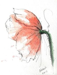 "Original artwork of a red poppy rendered in pen, ink and watercolor. It is titled ""Red Poppy Side View"" and is signed and dated at the bottom with the title on the back. This lovely flower gives us a wonder side view of the poppy as it seems to flair out with bits of splatter color"