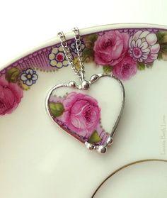 Broken china jewelry heart pendant necklace antique porcelain pink mauve rose