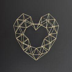 Ottone grande Himmeli cuore / moderno parete corona / geometriche scultura / minimalista Home Decor
