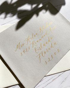 Handwritten Calligraphy | Babooche Calligraphy Calligraphy Wedding Place Cards, Calligraphy Save The Dates, Calligraphy Envelope, Foil Wedding Invitations, Wedding Envelopes, Modern Calligraphy, Wedding Paper, Wedding Cards, Calligraphy Practice