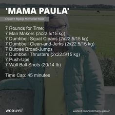 """""""Mama Paula"""" WOD - 7 Rounds for Time: 7 Man Makers kg); 7 Dumbbell Squat Cleans kg); 7 Dumbbell Clean-and-Jerks kg); 7 Dumbbell Thrusters kg); 7 Push-Ups; Dumbbell Squat, Dumbbell Workout, Kettlebell, Crossfit Wods, Wod Workout, Workout Board, Workout Plans, Muscle Up, Muscle Building"""