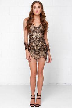 Beautiful Mesh Tan and Black Lace Dress at Lulus.com!