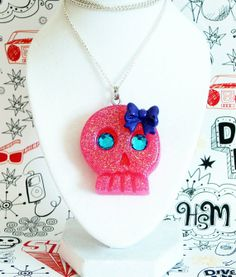 Pink Skull Necklace by softbluecries on Etsy, $12.00