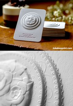 Amazing Multi-Level Embossed Letterpress (wedding cake) Business Card from a Pastry Chef Embossed Business Cards, Letterpress Business Cards, Business Card Design, Creative Business, Cake Business, Graphic Design Typography, Branding Design, Glitter Texture, Name Card Design