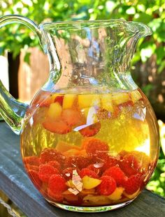 Sweet white wine sangria with summer fruits.....making this on SATURDAY!