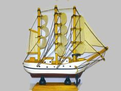 """Mother's Day Gift. Authentic wood and canvas """"Sail Ship """" . Handmade 100%"""