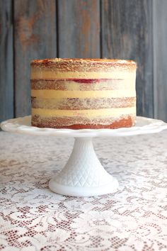 Vanilla Cake with Passion Fruit and Raspberry Filling :http://avaloncakes.com/vanilla-cake-with-passion-fruit-and-raspberry-filling/