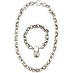 Preowned French Sterling Silver Link Necklace And Bracelet Demi-parure ($1,150) ❤ liked on Polyvore featuring jewelry, necklaces, multiple, sterling silver chain link necklace, sterling silver charm necklace, long sterling silver necklace, chain link necklace and sterling silver bear charm