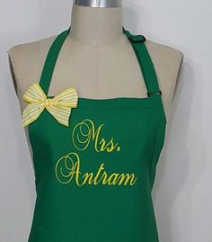 Kelly Green Personalized apron with Yellow embroidery thread / Mrs. Antram Monogrammed apron / Women's personalized apron. by SouthernA on Etsy
