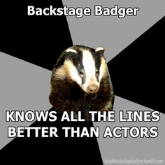 """""""Backstage Badger"""" Backstage badger, knows all the lines better than the actors. Haha happens constantly. Everyone backstage is always mouthing Taylor's lines... XD"""