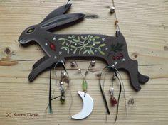 Original Art. Wooden Hanger. Hip, haw, mistletoe and moon