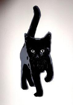 Little Black Cat original linocut print by MissDangerfield on Etsy