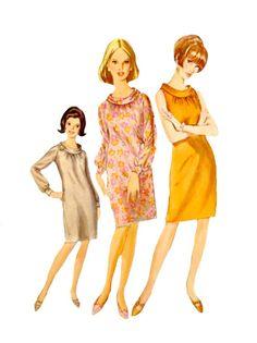 Vintage 60's Slim Shift Dress Rolled Collar by VintageNeedleFinds