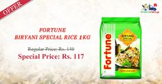 Order Online #Fortune #Biryani #Rice 1 Kg at Special Price Only on Kiraanastore. Get Free Shipping & Pay COD.