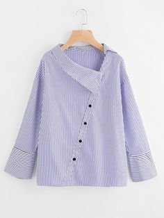 Shein Asymmetric Collar Drop Shoulder Striped Blouse