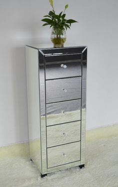 """brand new in the box 5 drawer mirrored dresser excellent quality, very sturdy 17.7x14x""""47"""" $325 (reg $500)"""