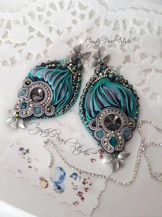 Silver Orchid Shibori Earrings With Soutache Freshwater