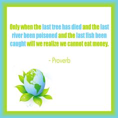 Only when the last tree has died and the last river been poisoned and the last fish been caught will we realize we cannot eat money.