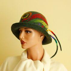 Green hat felted  rainbow hat dark green cloche hat by ZiemskaArt, $119.00
