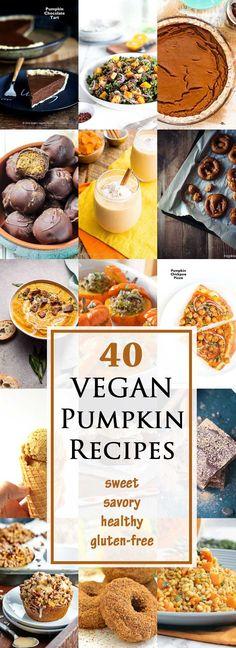40 Sweet & Savory Vegan Pumpkin Recipes for your holiday meals! Pumpkin Recipes Vegetarian, Vegan Pumpkin, Vegan Recipes, Vegetable Recipes, Vegan Vegetarian, Paleo, Vegan Foods, Vegan Dishes, Vegan Desserts