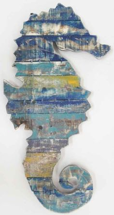 Wood Wall Art Sculpture Picture – Shabby Chic Vintage Seahorse in Home, Furniture & DIY | eBay