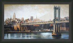 Manhattan Bridge View   Cityscape   Framed Art   Wall Decor   Art   Pictures   Home Decor