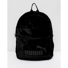 Puma Faux Fur Backpack In Black (4,380 INR) ❤ liked on Polyvore featuring bags, backpacks, black, day pack backpack, faux fur backpack, daypack bag, zip bag and sports backpacks