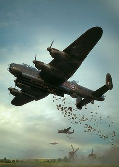 The Crew of this Lancaster are on Operation Manna, supplying The Dutch with food. Ww2 Aircraft, Fighter Aircraft, Fighter Jets, Military Jets, Military Aircraft, Lancaster Bomber, War Thunder, Airplane Art, Ww2 Planes