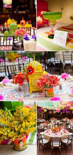colourful wedding vintage rainbow theme inspirations