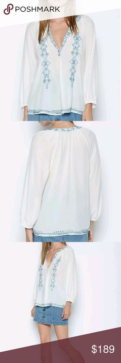Joie 100% silk addie d embroidered blouse Really beautiful and hard to find. Runs true to size. Joie Tops Blouses