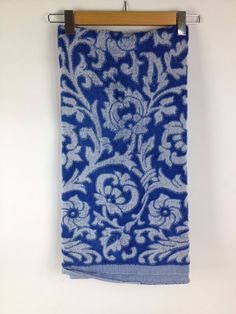 """60s 70s Vintage Bath Towel 48"""" Blue Sculpted Mid Century Cutter Fabric Craft  #Unknown"""