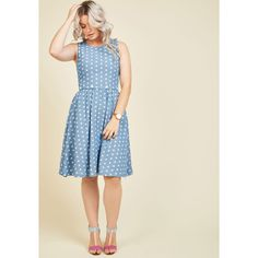 Long Sleeveless A-line The Real Ahoy Denim Dress ($80) ❤ liked on Polyvore featuring dresses, apparel, blue, fashion dress, long cutout dress, a line dress, cutout dresses, blue polka dot dress and polka dot dress