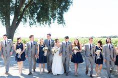 Bridal Party Navy Blue Bridesmaid Dresses Gray Groomsmen Suits | Wilson-Vineyard-Clarksburg-California-Wedding-Photographer-TréCreative