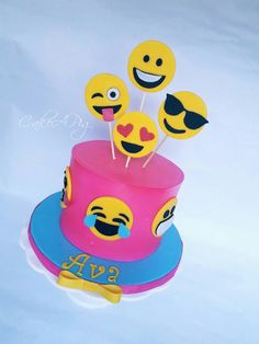 bright pink Emoji cake