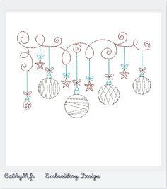Motif pour brodeuse : Guirlande de Noël : Broderie par CathyM