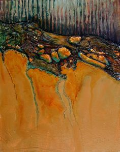 CAROL NELSON FINE ART BLOG - Copper River - metal leaf, prepared tyvek, and corrugated paper in a mixed media composition on a cradled panel.  With a piece of tyvek that had many holes in it so that the metal leaf would peak through the holes.