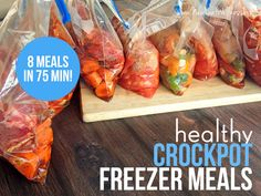Do you want to eat healthy dinners without having to slave away in the kitchen? Healthy freezer crockpot meals are your answer!! Here's how I prepped eight meals in 75...