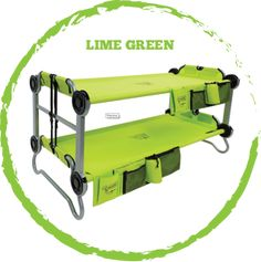 """""""Kid-O-Bunk"""" $289 Use as a bunk, a bench or two single cots. Kid-friendly, no-tool assembly. No mattress needed. Fully disassembles into supplied carry bag. Quick, easy transportation and storage. Indoor and outdoor use."""