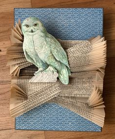 Owl of the Arctic, 2011 Materials: hardcover book, decorative paper, and paper owl.