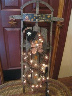 primitive christmas wreaths | Sled..with grapevine wreath snowman~~ | A Very Primitive Christmas