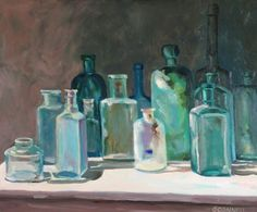 Do I need a painting of old bottles to hang above my old bottle collection? Probably not. Still pretty.
