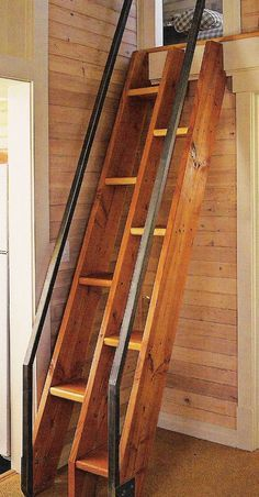 Simple ship ladder takes up less room than stairs, but is safer than a ladder...