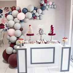 This colour palette is everything!  Via @sweetpea_events ・・・ DESSERT DISPLAY 💕  Table, balloons, concept, styling & design @sweetpea_events  Cake & cupcakes by @jkcakedesigns  Chocolate gems by @sugarcoated_favors  Strawberry & Macaron Tower @doms.strawberries.delight 'one' topper @littleeventboutique  Grey cake stands by @prettypedestals  #balloons  #balloondisplay #balloonarch #dessertdisplay #boutiqueplinths #dessertcups #desserttable #caketable #cakedisplay #burgandy #birthday…