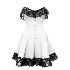 This stunning white corset dress is one of our favorites here at Corset-Story. The main body of this strong steel boned garment is pure white and this is offset with a gothic style lace decoration around the bust and waist areas. Despite being steel boned, the cotton twill lining ensures your comfort all day or evening long.  We think this would go best as a standalone outerwear corset- something which you could wear to almost any event. We think you'll agree that it has been expertly…